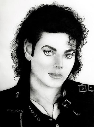 Charcoal Sketch Tribute By Artist Mridula Chury To The King Of Pop Michael Jackson On His Birth Anniversary